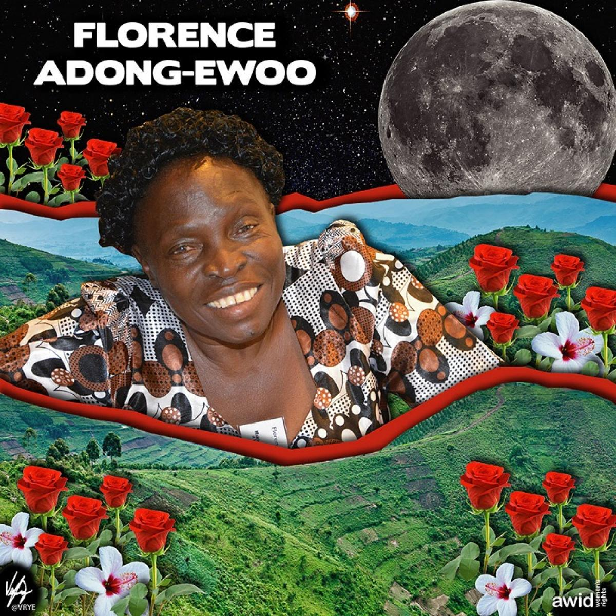 art piece honoring Florence Adong-Ewoo afor the AWID tribute, her picture featured on the forefront, with collage layers of landscape behind her and a full moon