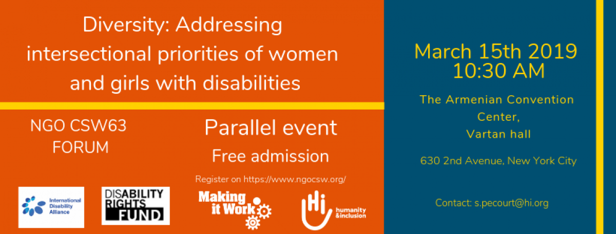 "banner of the MIW parallel event ""diversity: addressing intersectional priorities of women and girls with disabilities"", March 15th, 10:30am"